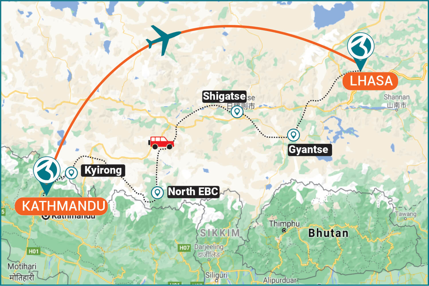 Route for Travel From Kathmandu To Lhasa