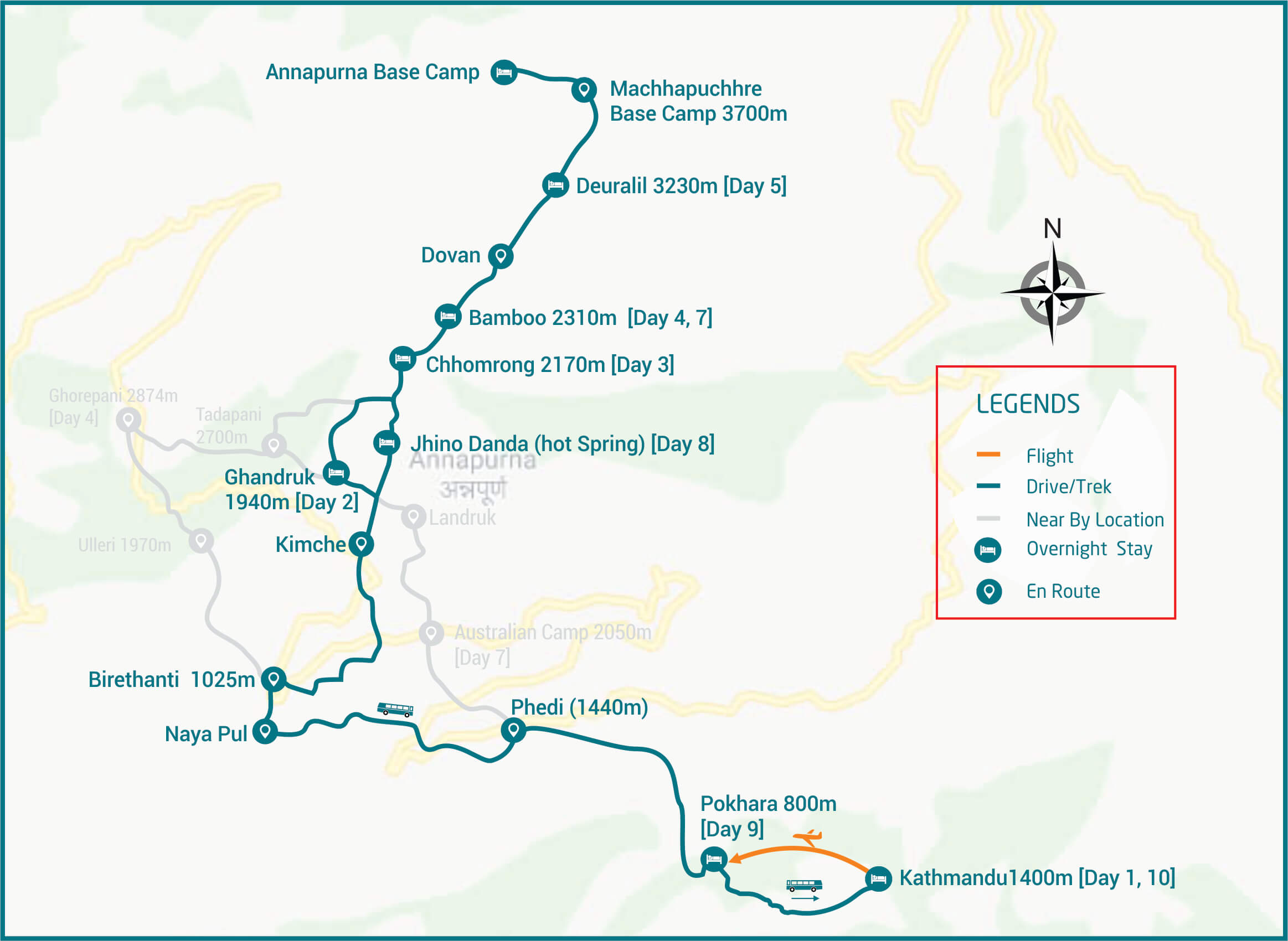 annapurna base camp trek route map