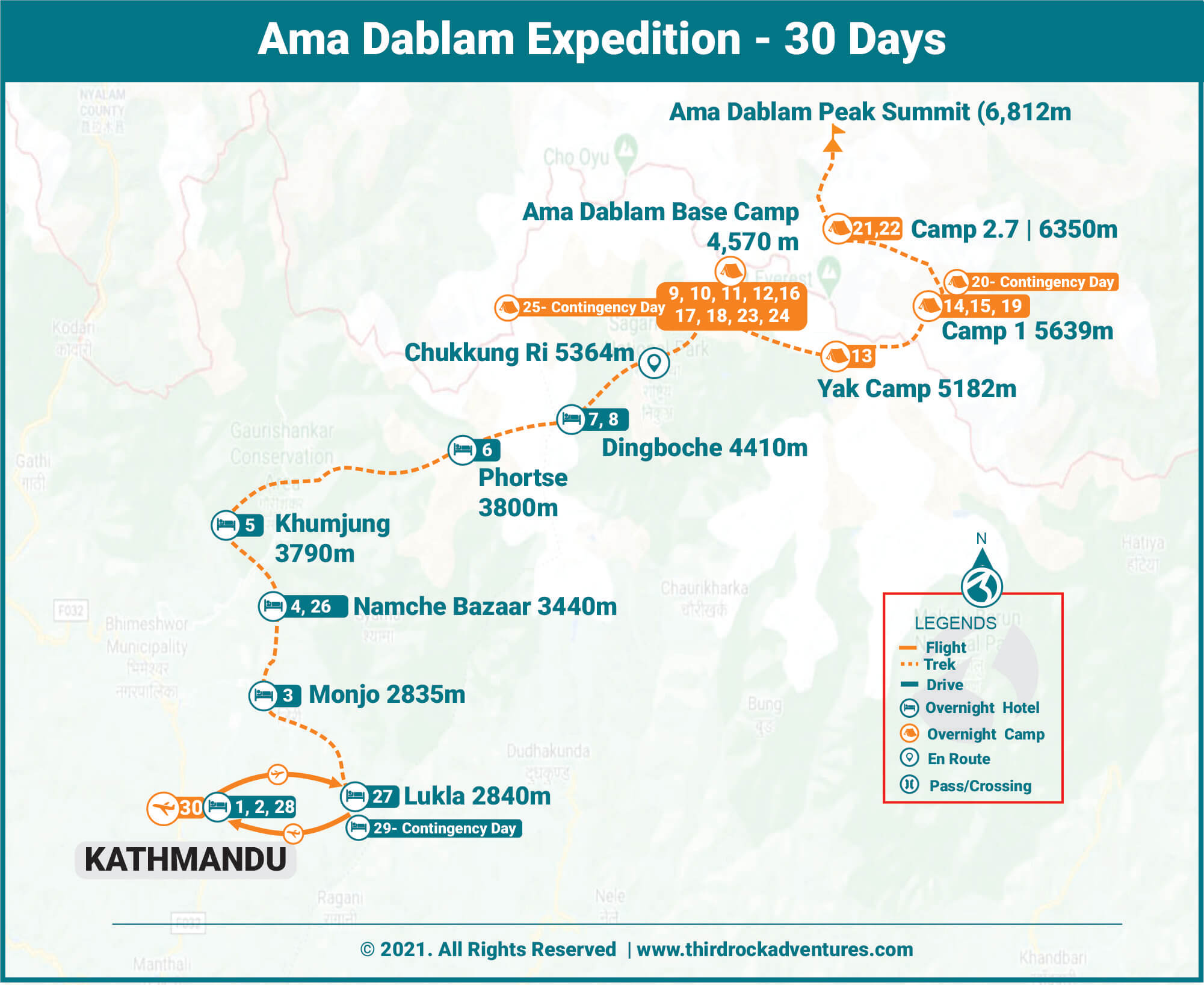 Ama Dablam Expedition Route Map