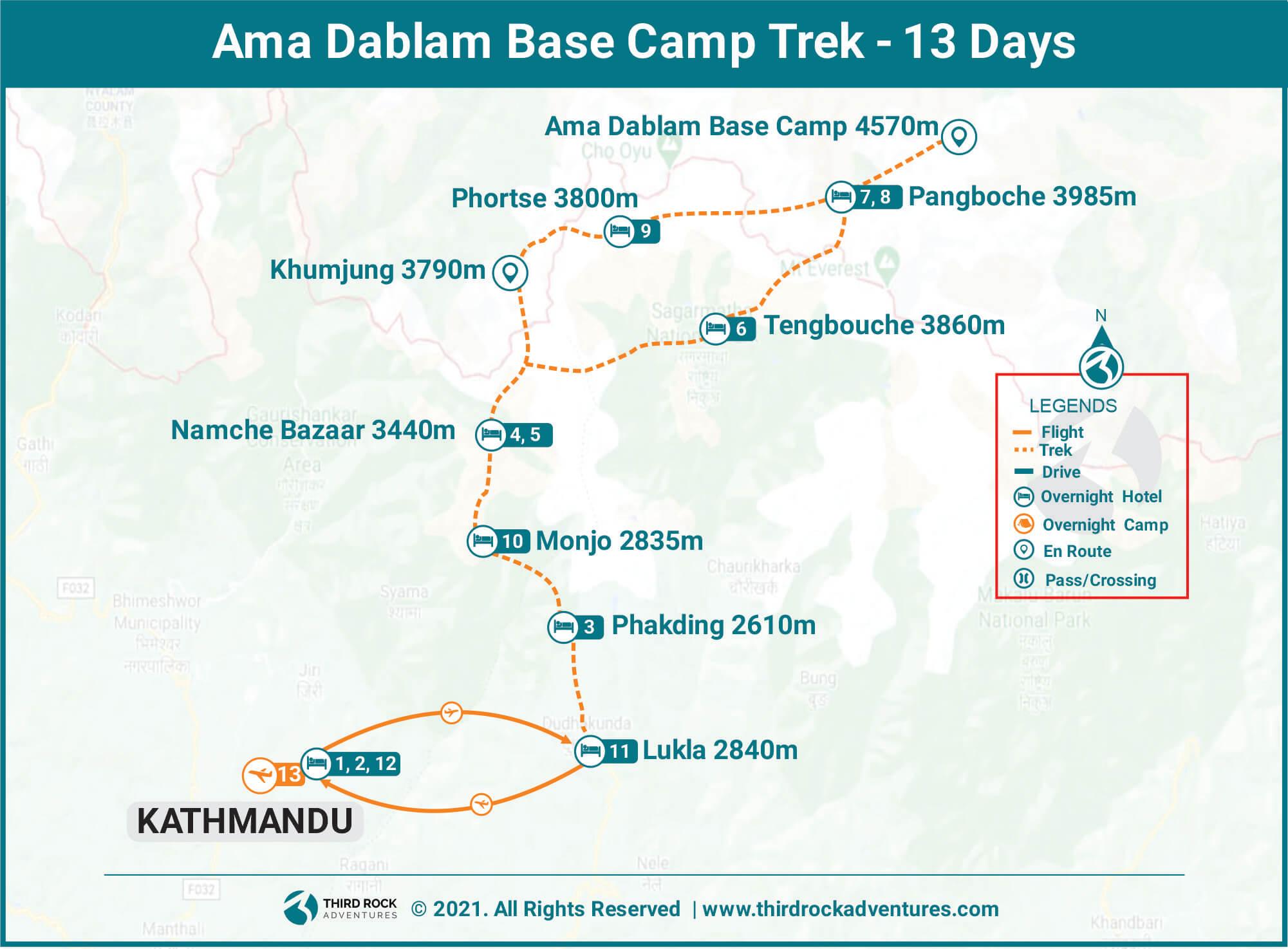 Ama Dablam Base Camp Trek Route Map
