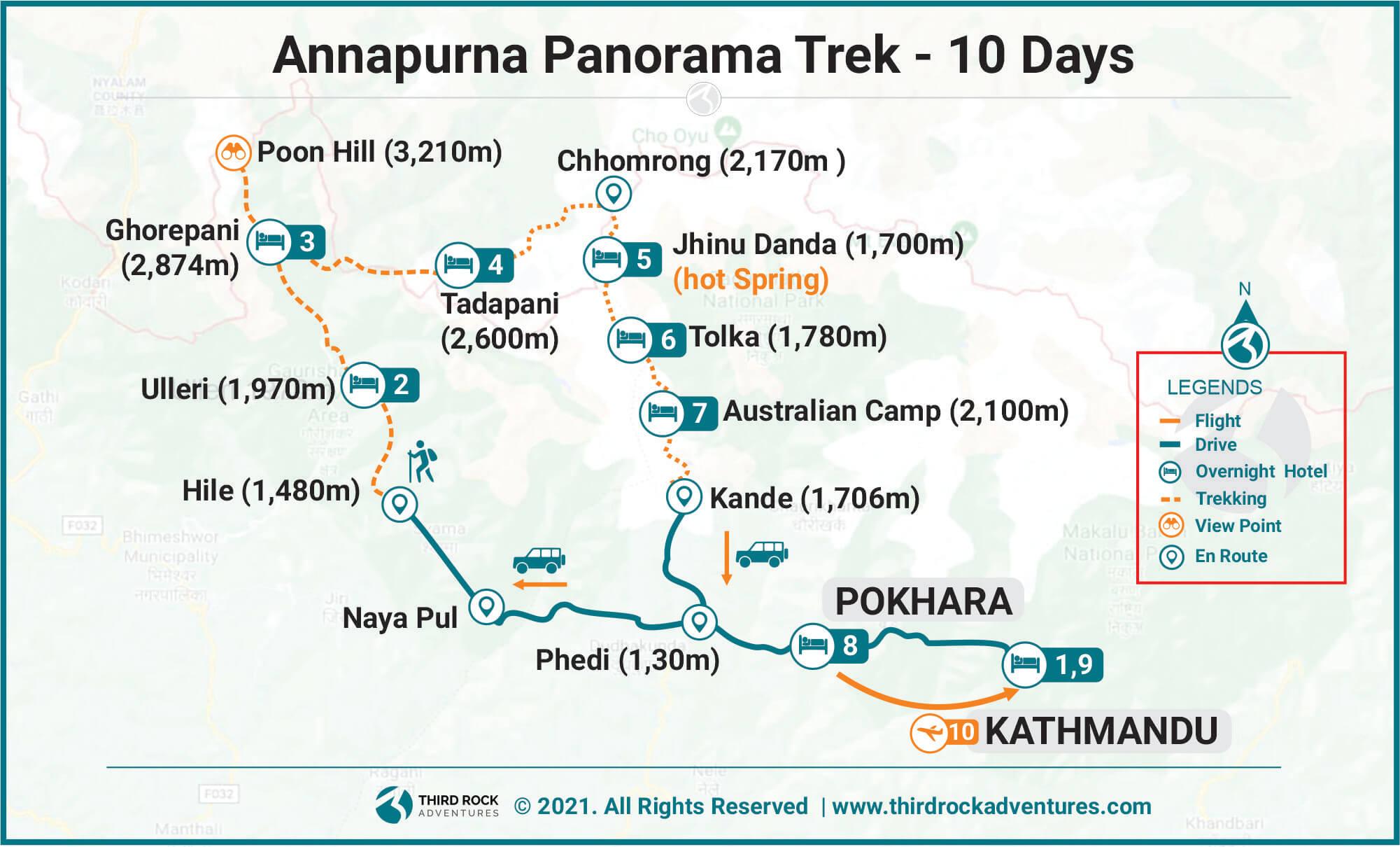 Annapurna Panorama Trek  Route Map