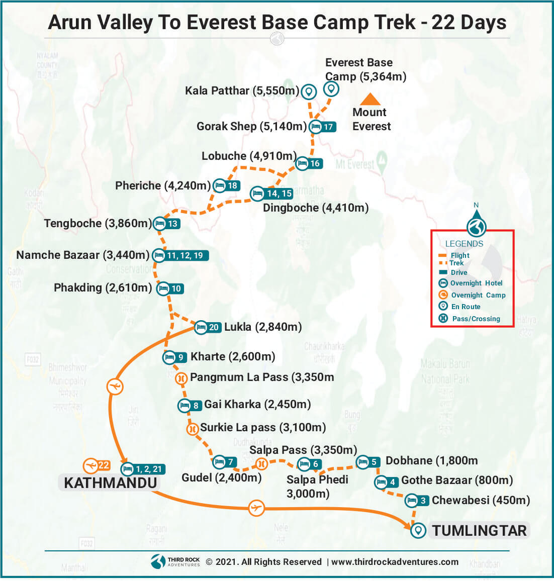 Arun Valley To Everest Base Camp Trek Route Map