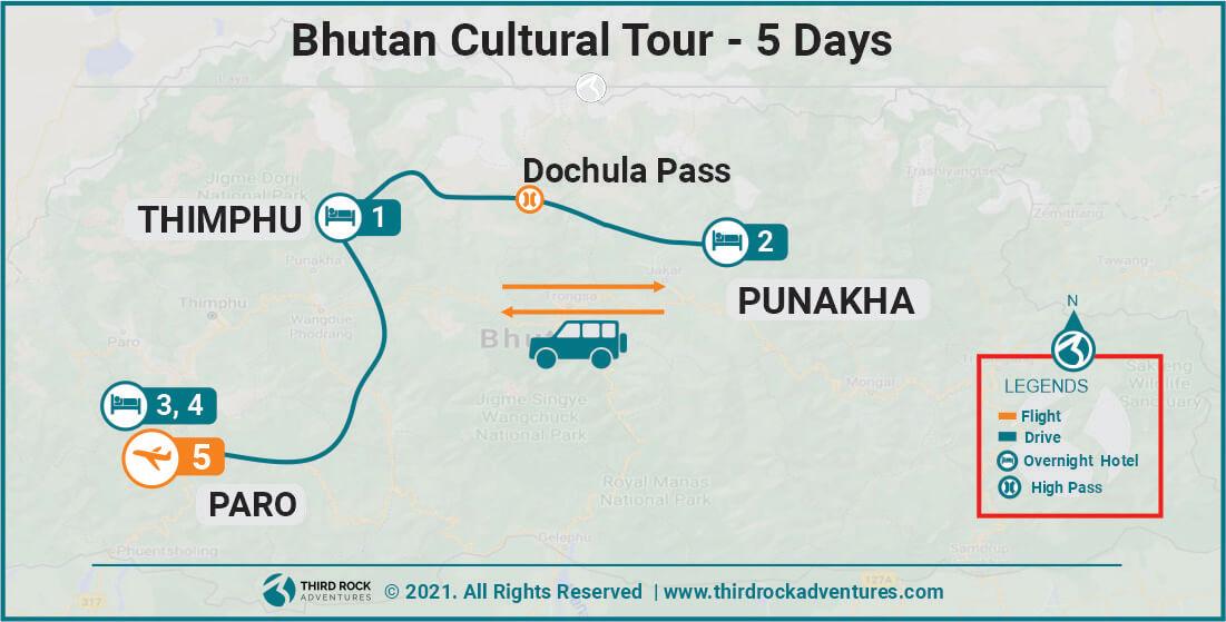 Bhutan Cultural Tour Map