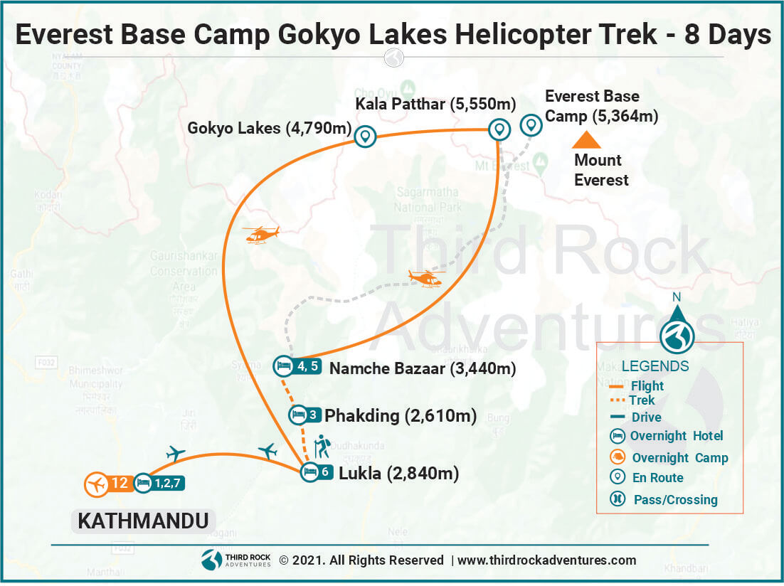 Everest Base Camp Gokyo Lakes Helicopter Trek Route Map