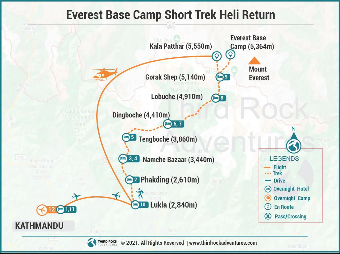 Everest Base Camp Short Trek  Heli Return Route Map