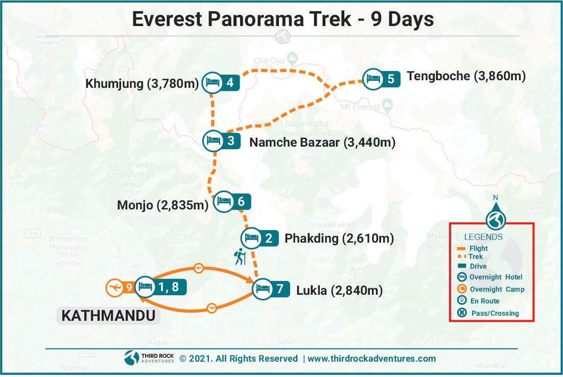 Everest Panorama Trek Route Map