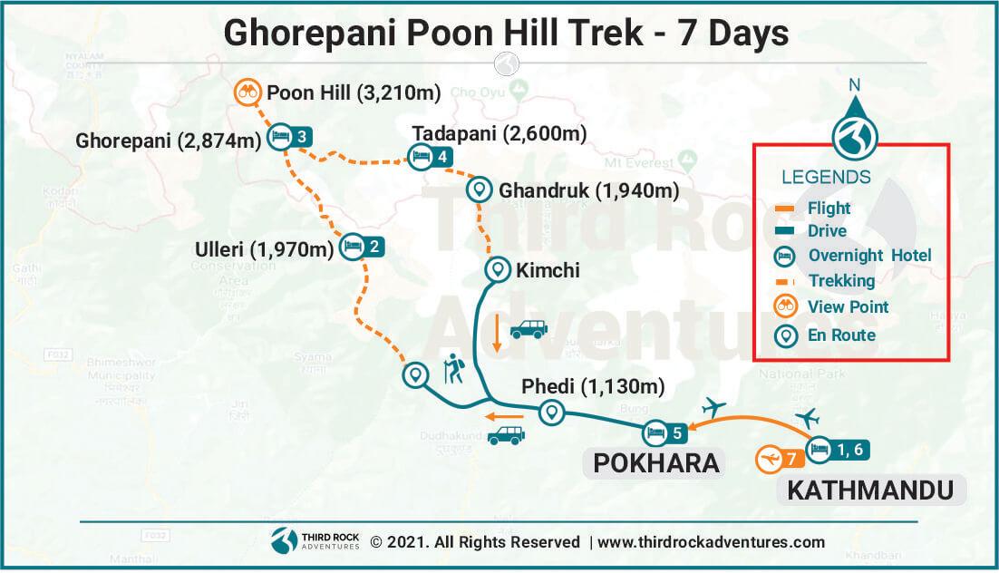 Ghorepani Poon Hill Trek Route Map