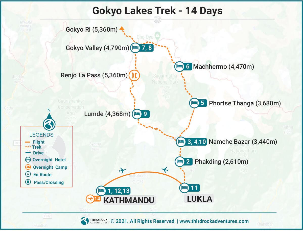Gokyo Lakes Trek Route Map