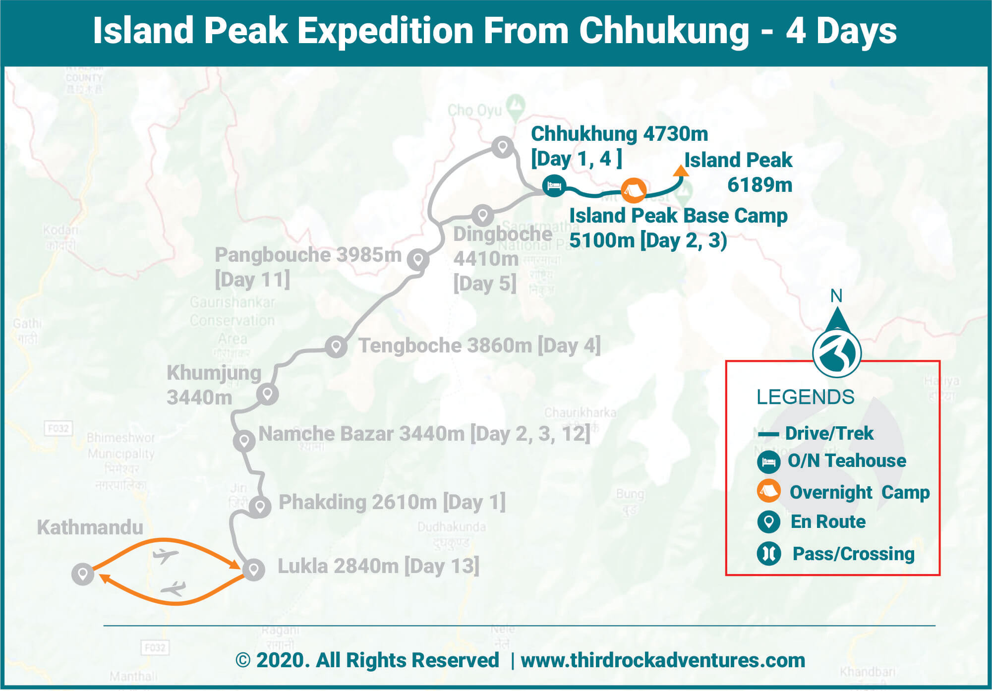 Island Peak Expedition 4 Days Route Map