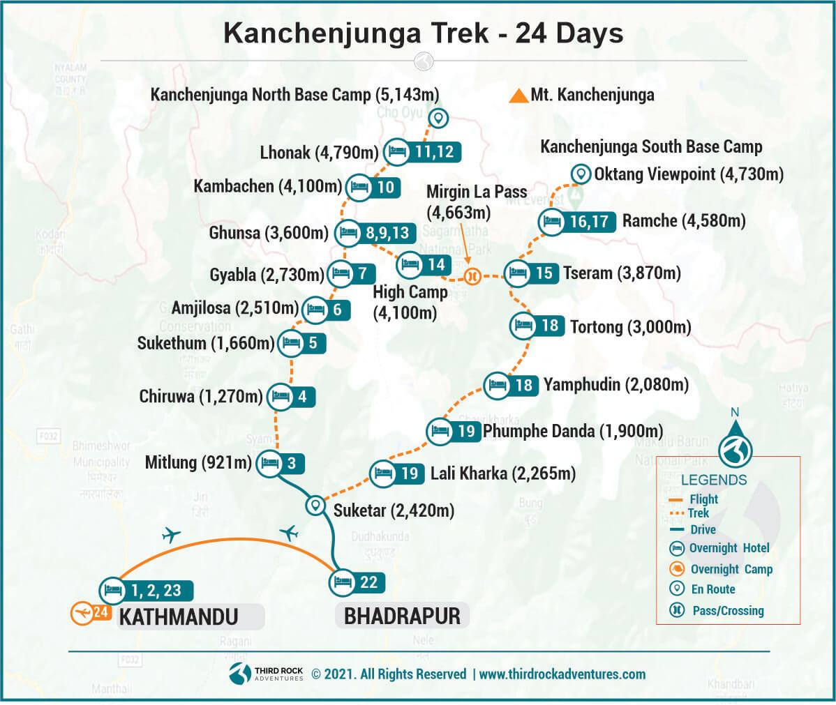 Kanchenjunga Trek Route Map