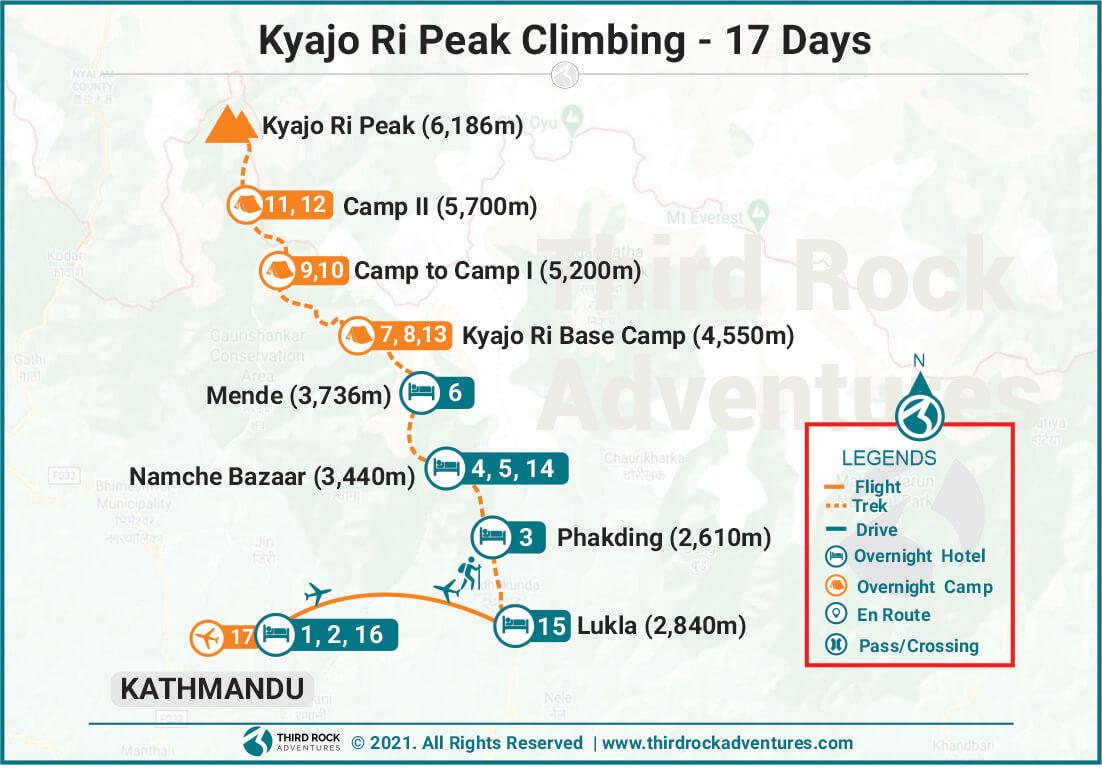 Kyajo Ri Peak Climbing Route Map