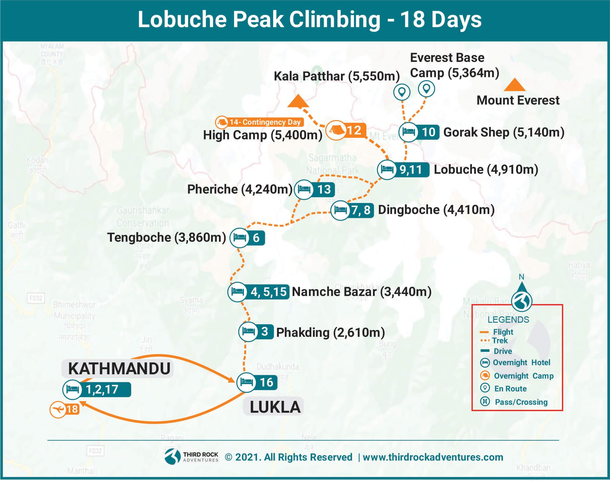 Lobuche Peak Climbing Route Map