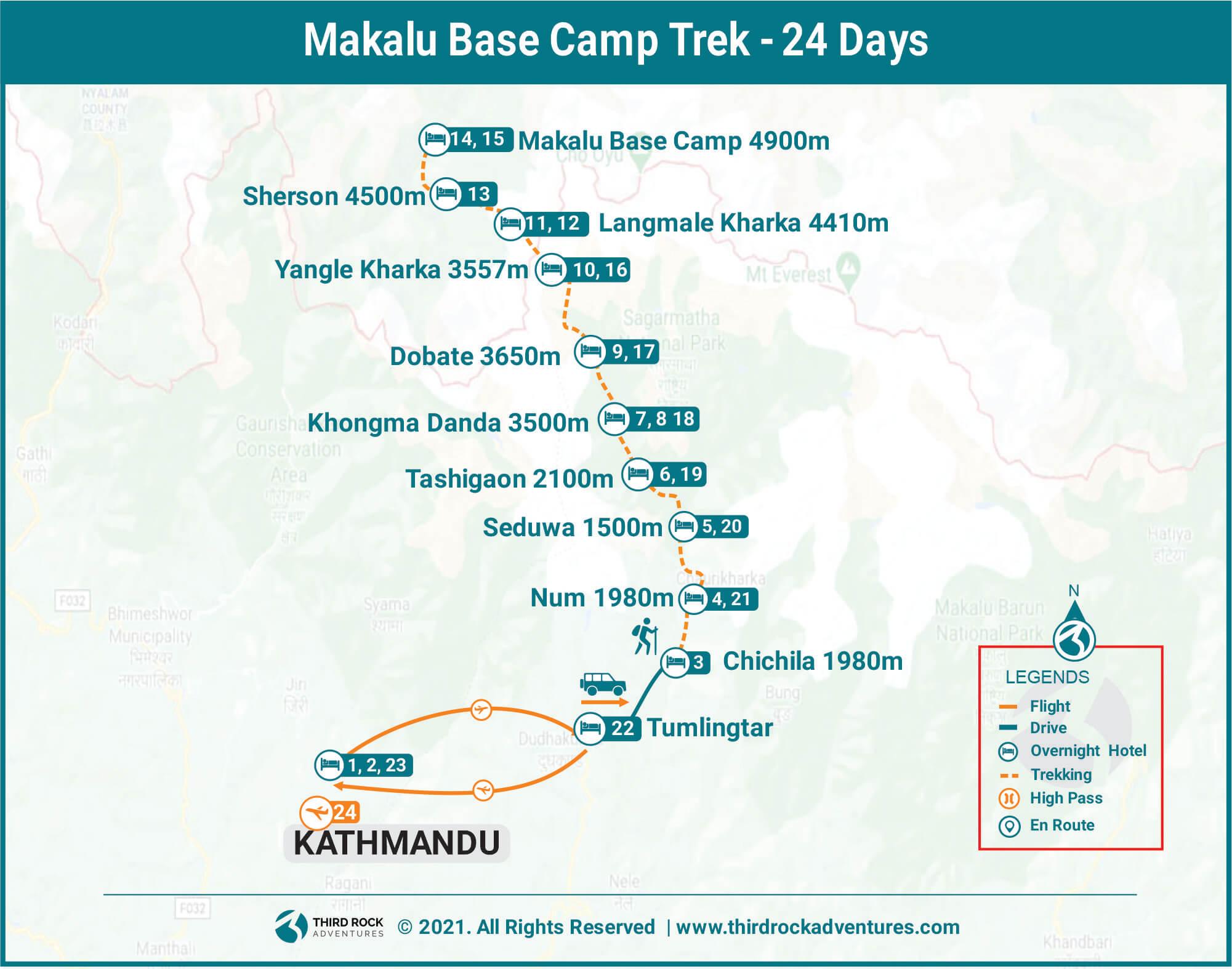 Makalu Base Camp Trek Route Map