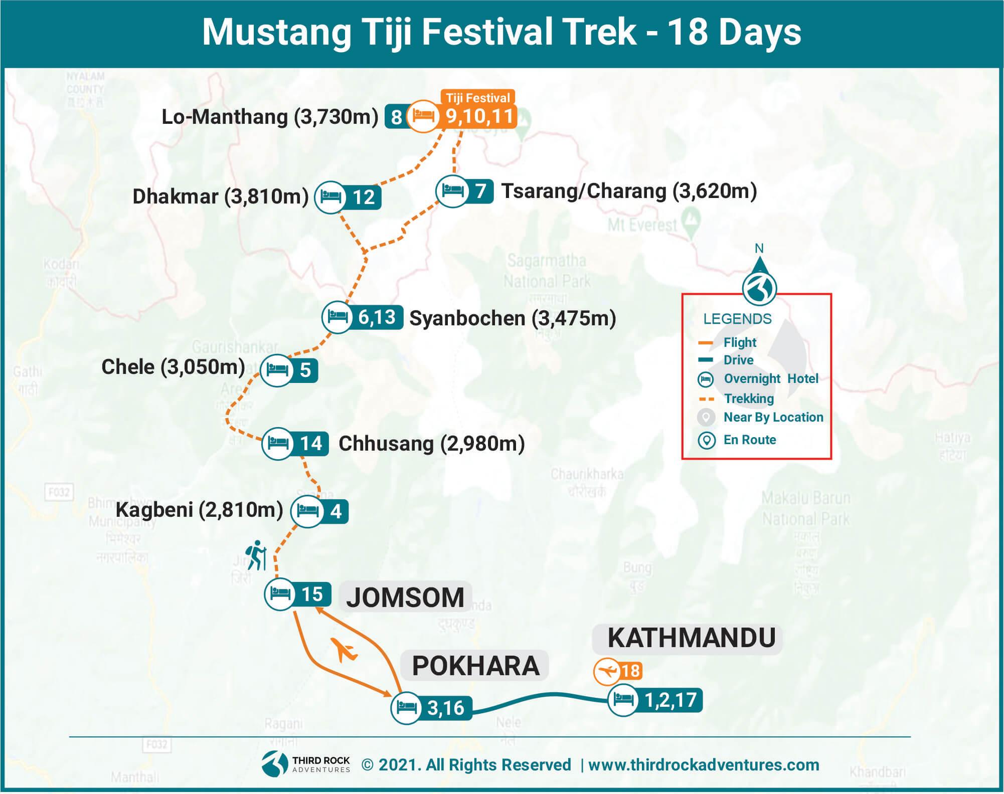 Mustang Tiji Festival Trek Route Map