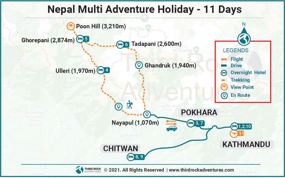 Nepal Multi Adventure Holiday Route Map