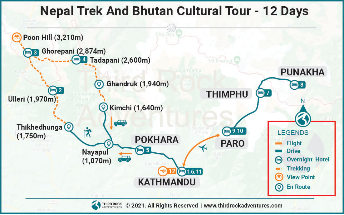 Nepal Trek And Bhutan Cultural Tour Route Map