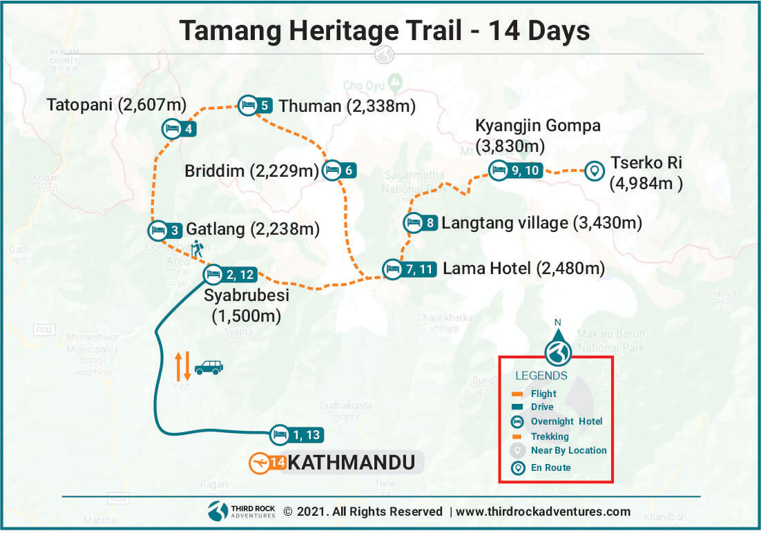 Tamang Heritage Trail Route Map