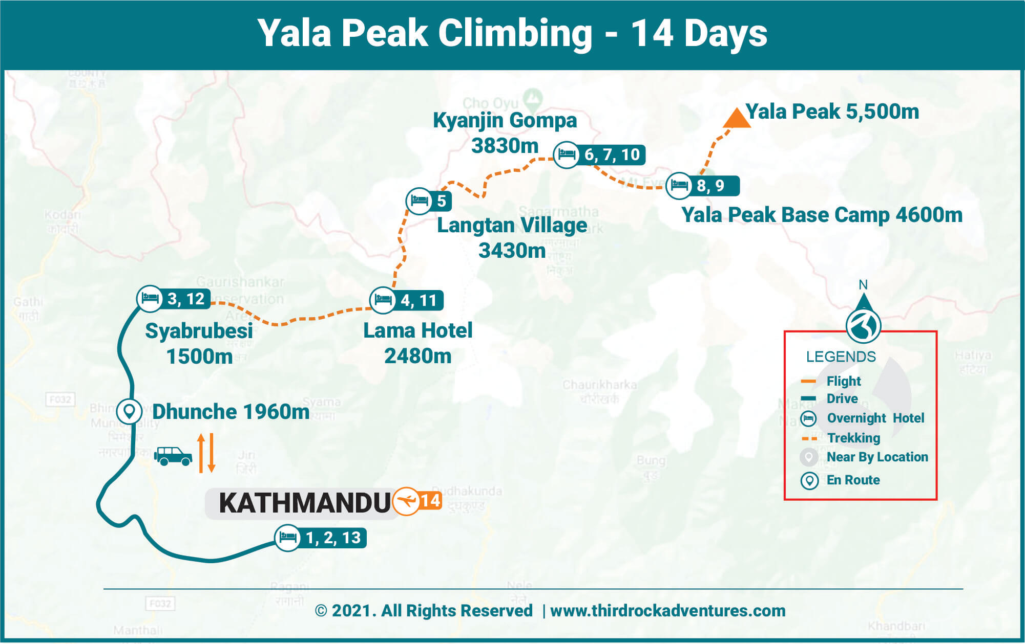 Yala Peak Climbing 14 days Route Map