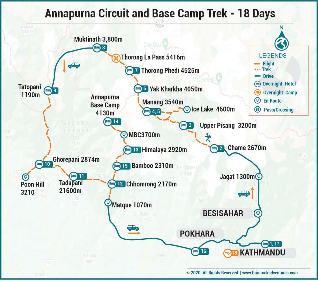 Annapurna Circuit And Base Camp Trek Route Map