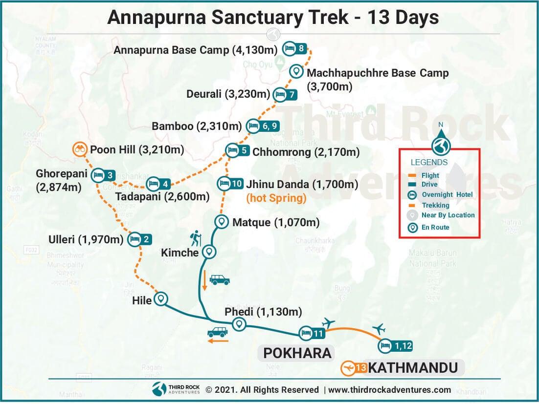 Annapurna Sanctuary Trek 13 days Route Map