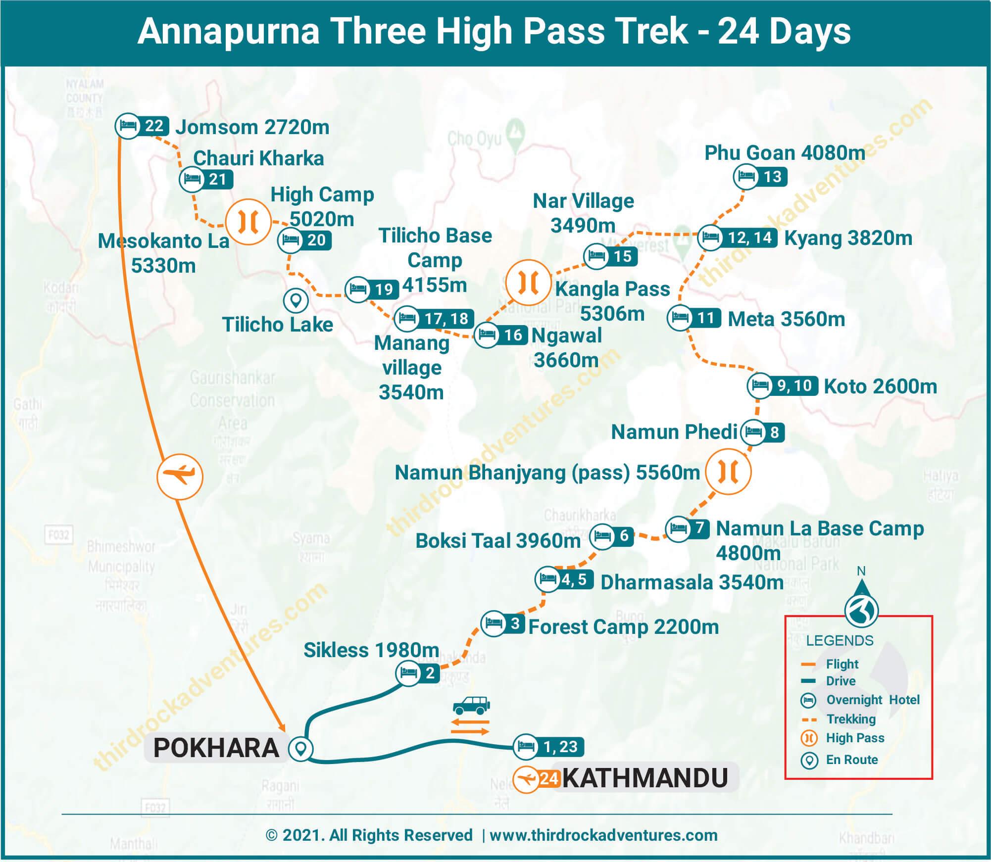 Annapurna Three Pass Trek Route map