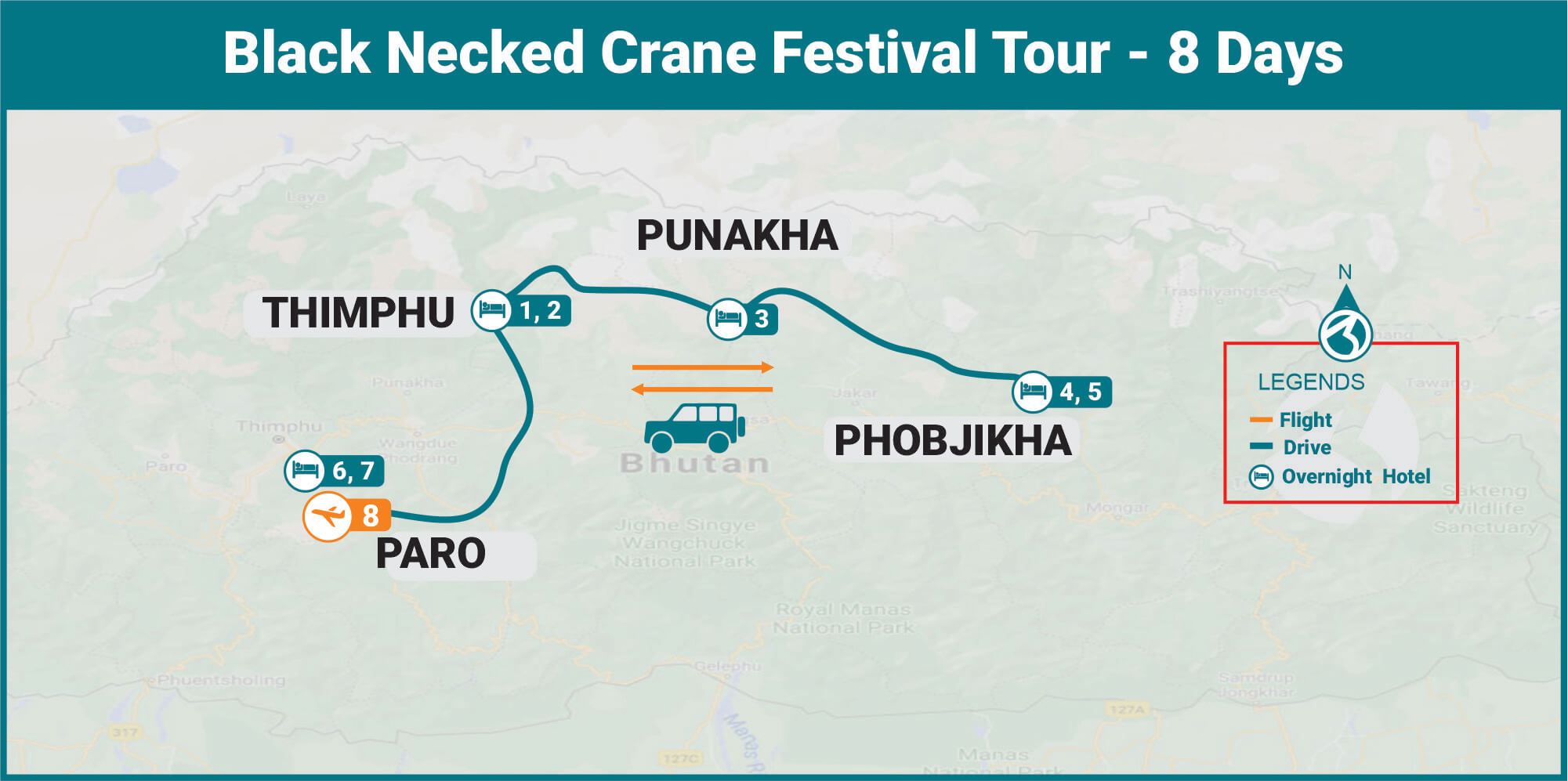 Black Necked Crane Festival Tour Map