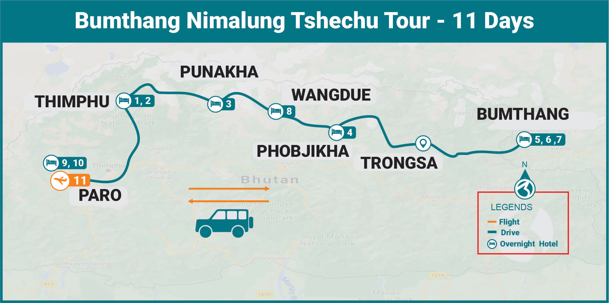 Bumthang Nimalung Tshechu Tour - 11 Days Route Map