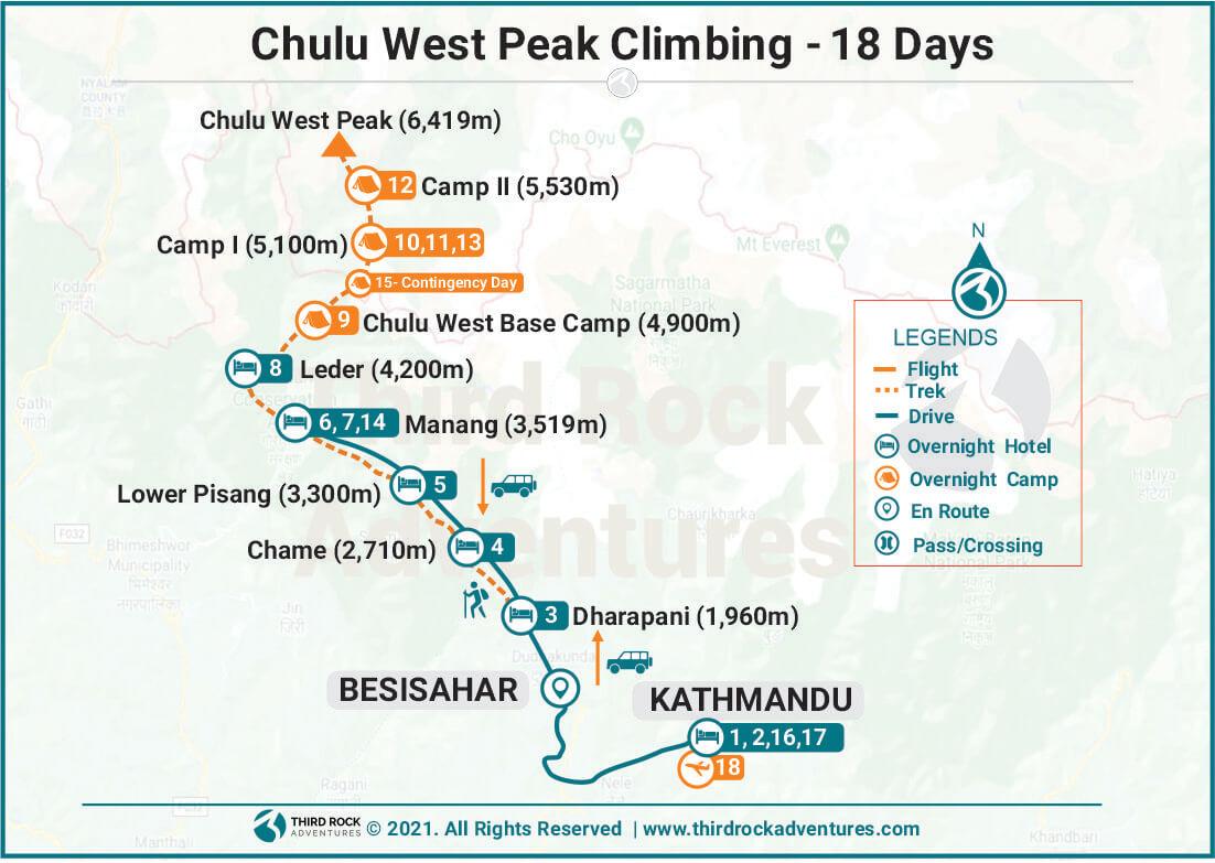 Chulu West Peak Climbing Route Map