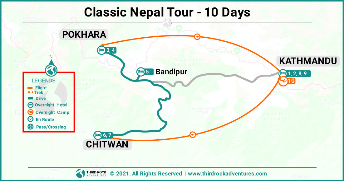 Classic Nepal Tour Route Map