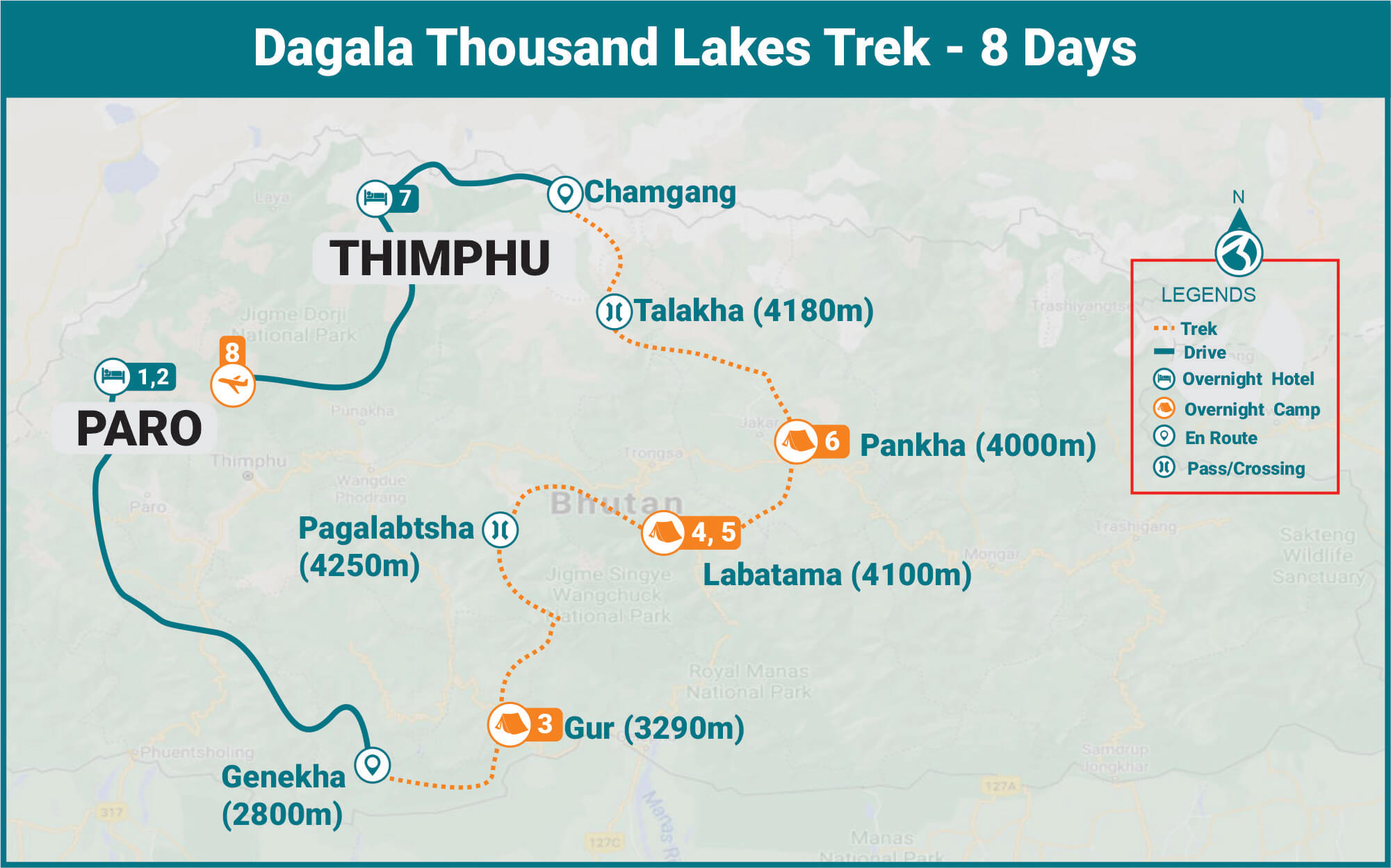 Dagala Thousand Lakes Trek Route Map