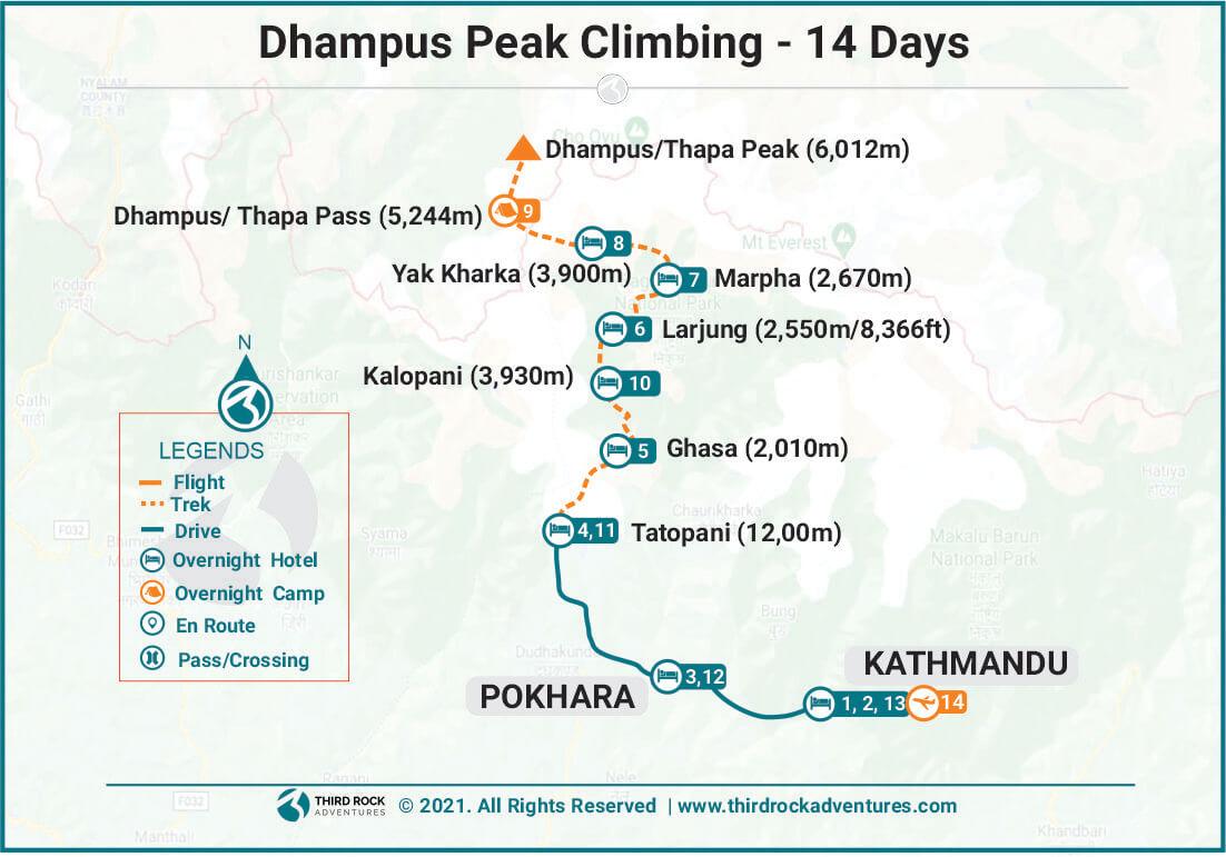 Dhampus Peak Climbing Route Map