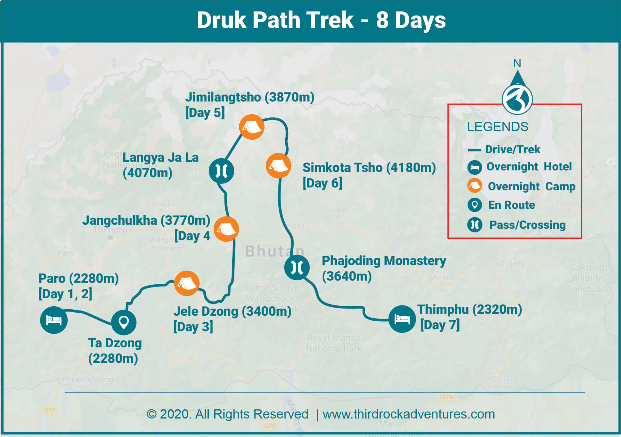 Druk Path Trek 8 Days Route Map