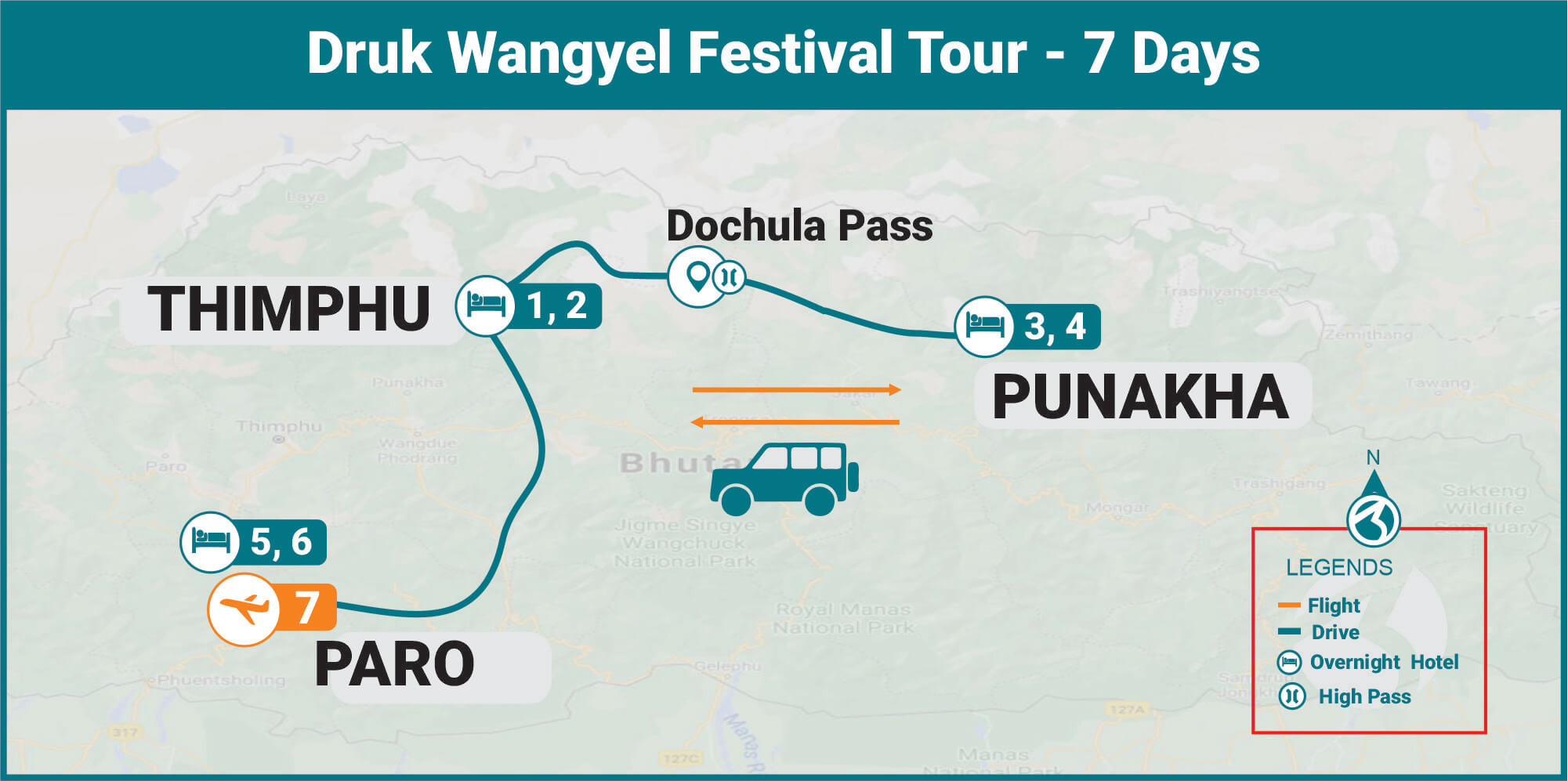 Druk Wangyel Festival Tour Map