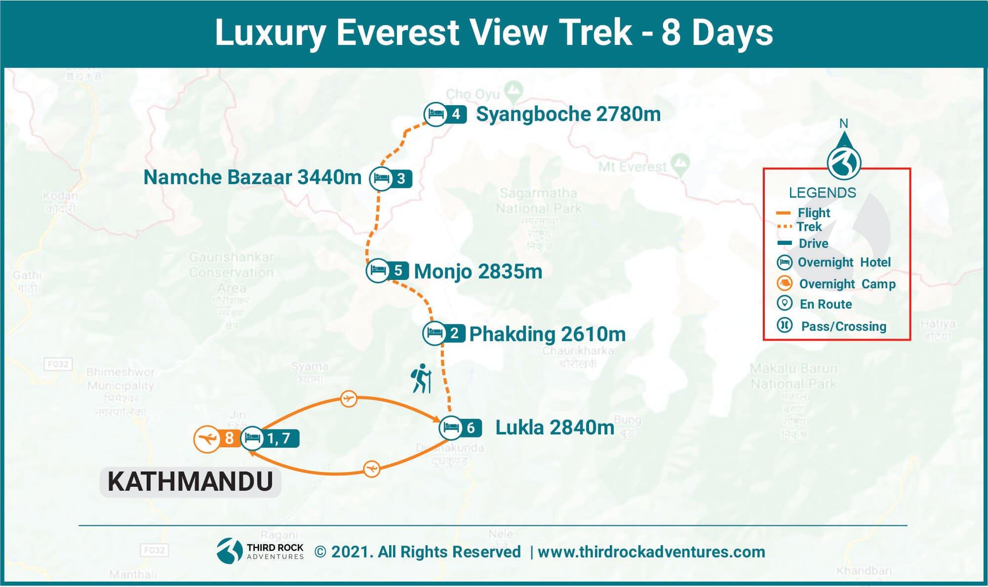 Luxury Everest View Trek Route Map
