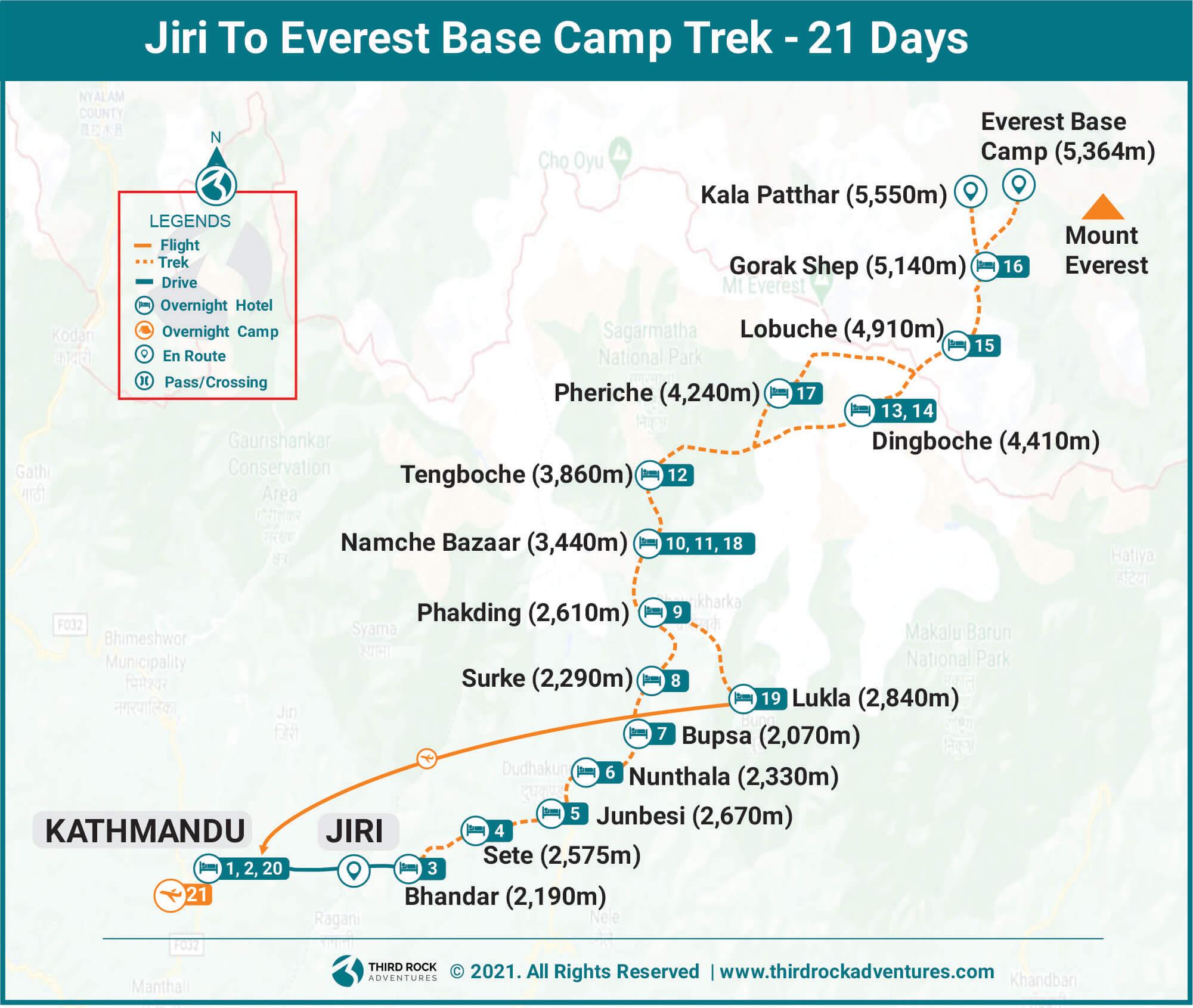 Jiri to Everest Base Camp Trek Route Map