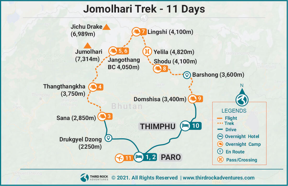 Jomolhari Trek Route Map