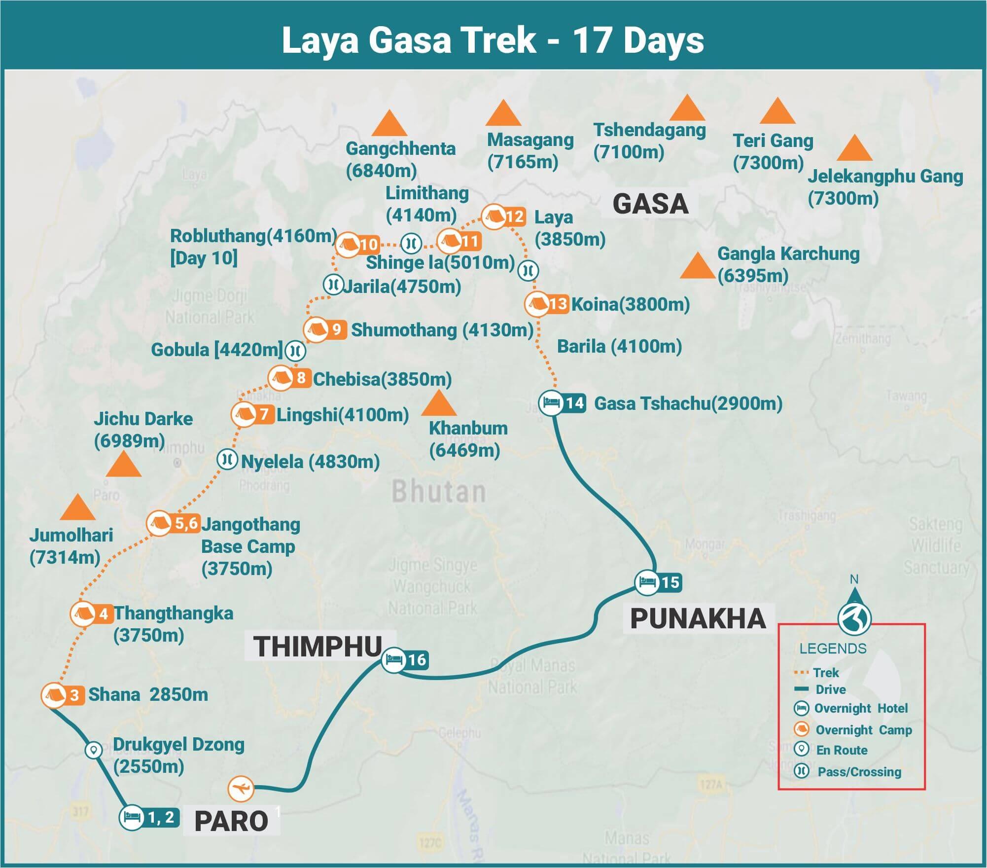 Laya Gasa Trek 17 Days Route Map
