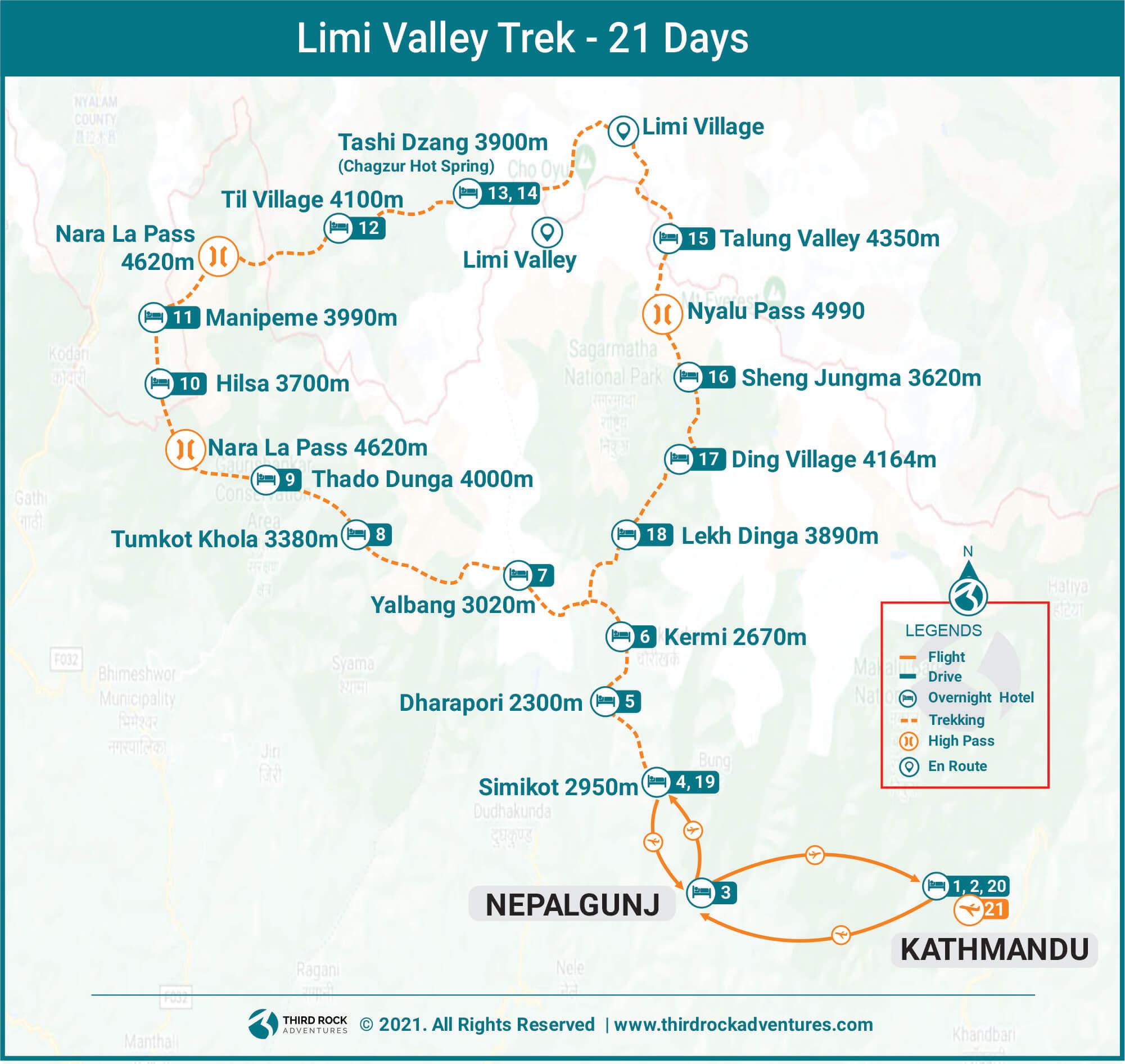 Limi Valley Trek Route Map