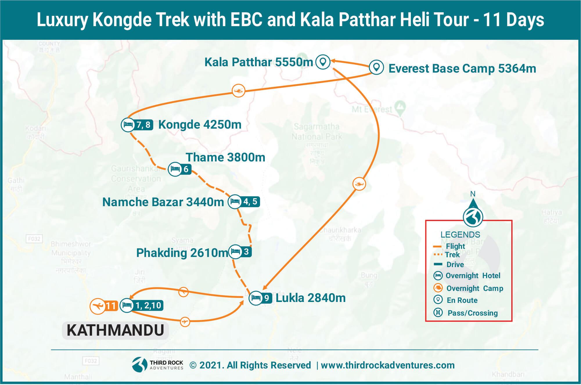 Luxury kongde trek route map