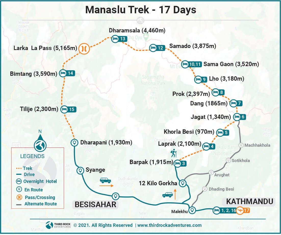 Manaslu Trek Route Map