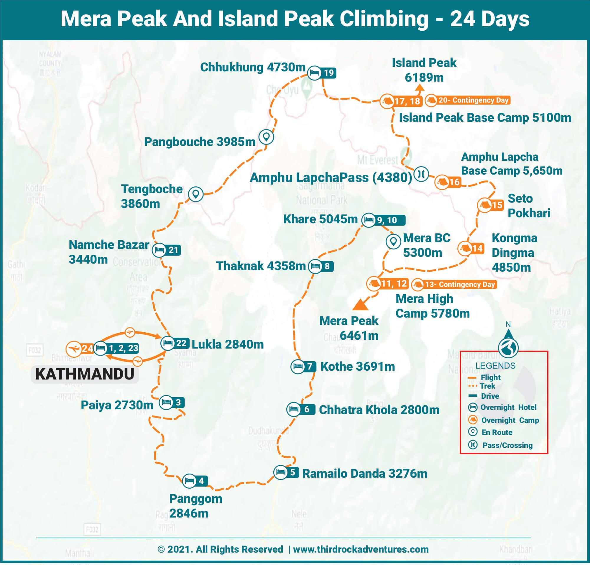 Mera Peak And Island Peak Climbing - 24 Days Route Map