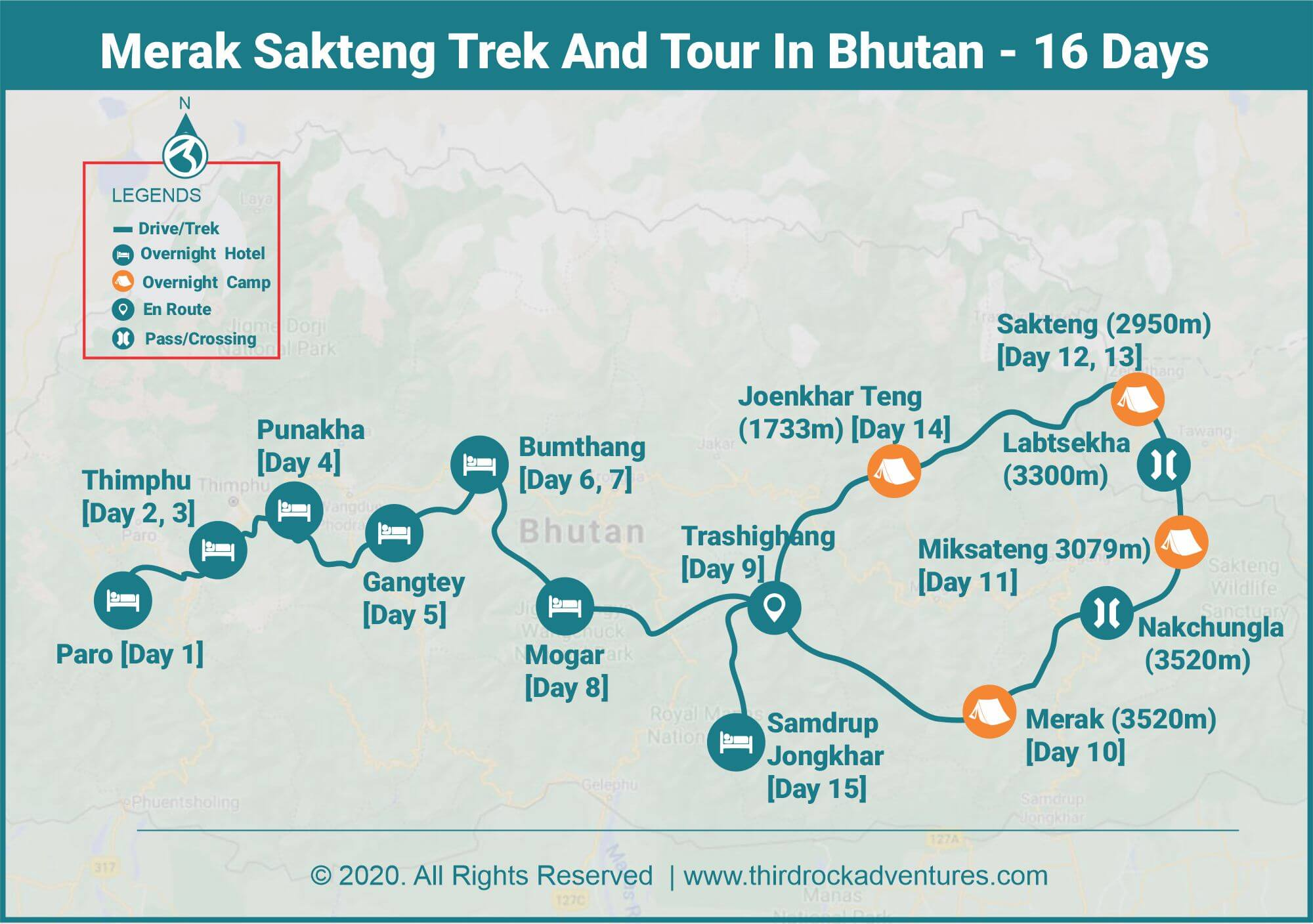 merak-sakteng trek-and-tour-In bhutan-route-map