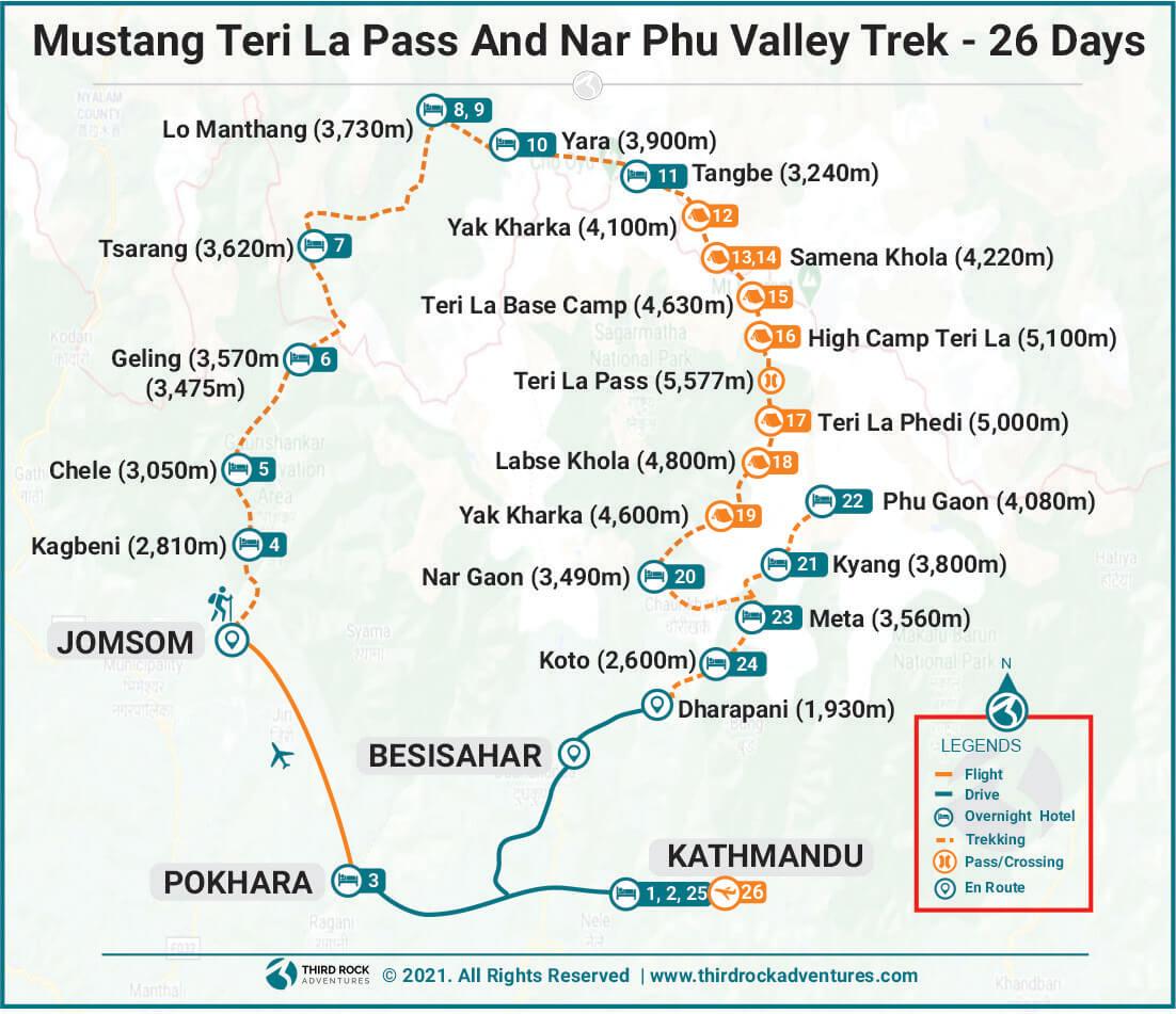 Mustang Teri La Pass And Nar Phu Valley Trek Route Map
