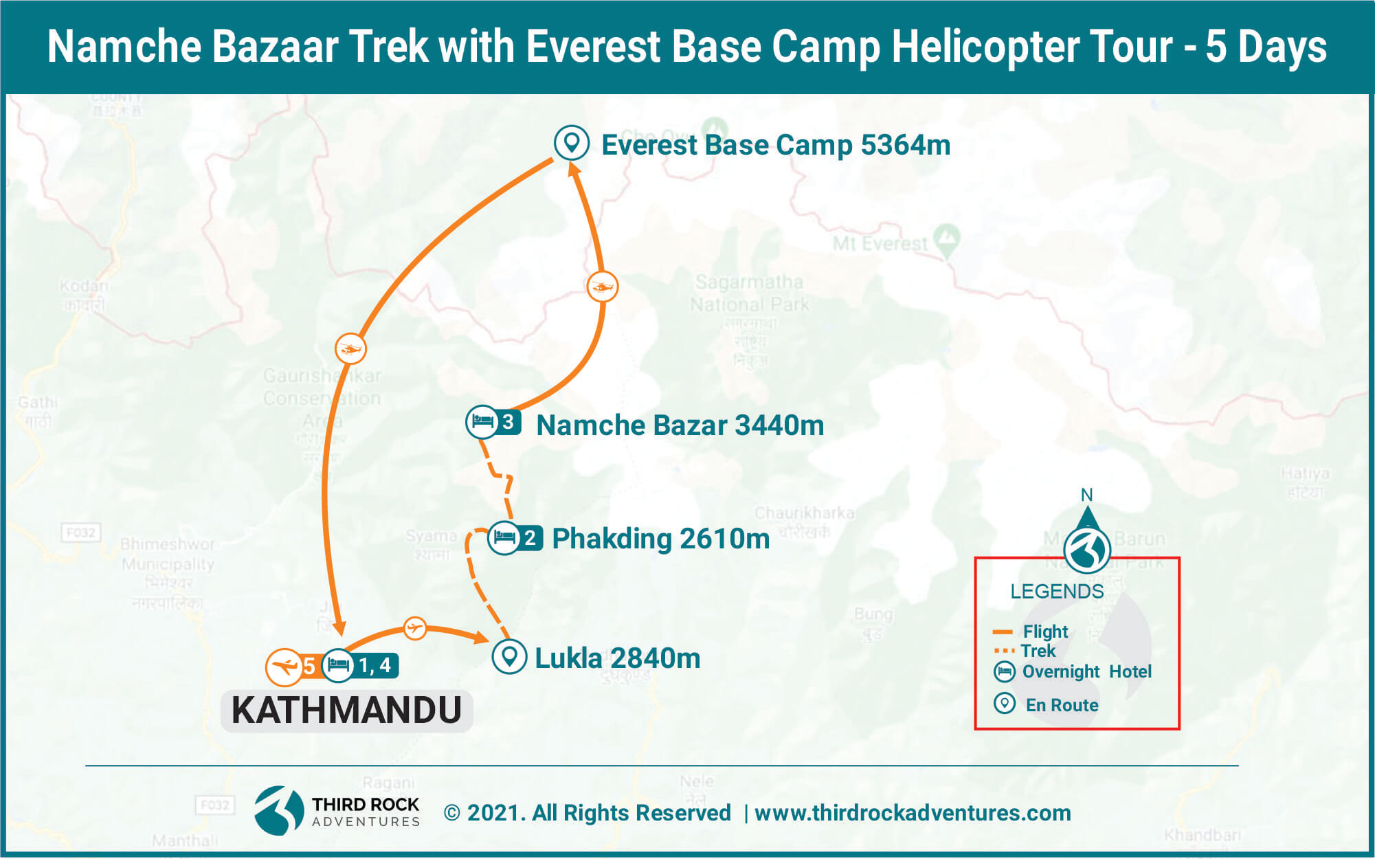 Namche Bazaar Trek Helicopter tour Route Map