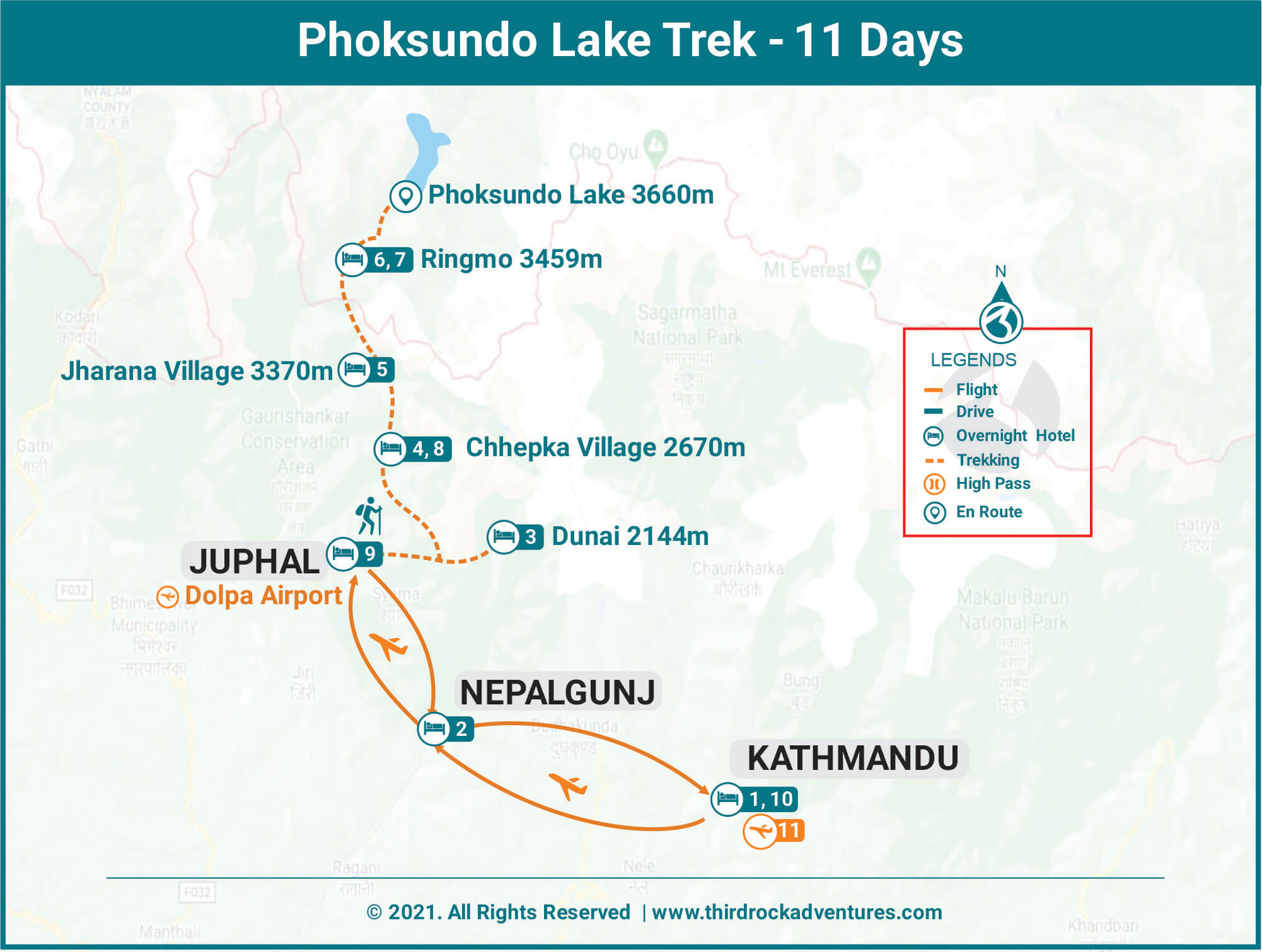 Phoksundo lake trek route map
