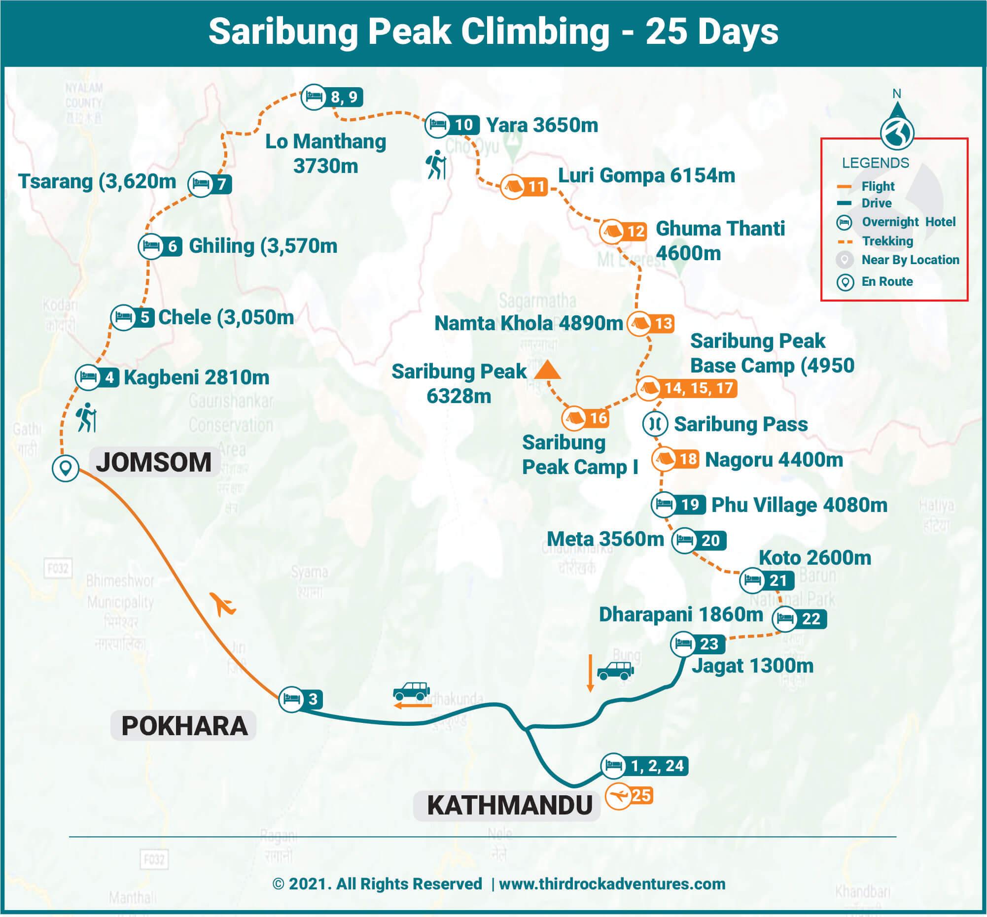 Saribung Peak Climbing Route Map
