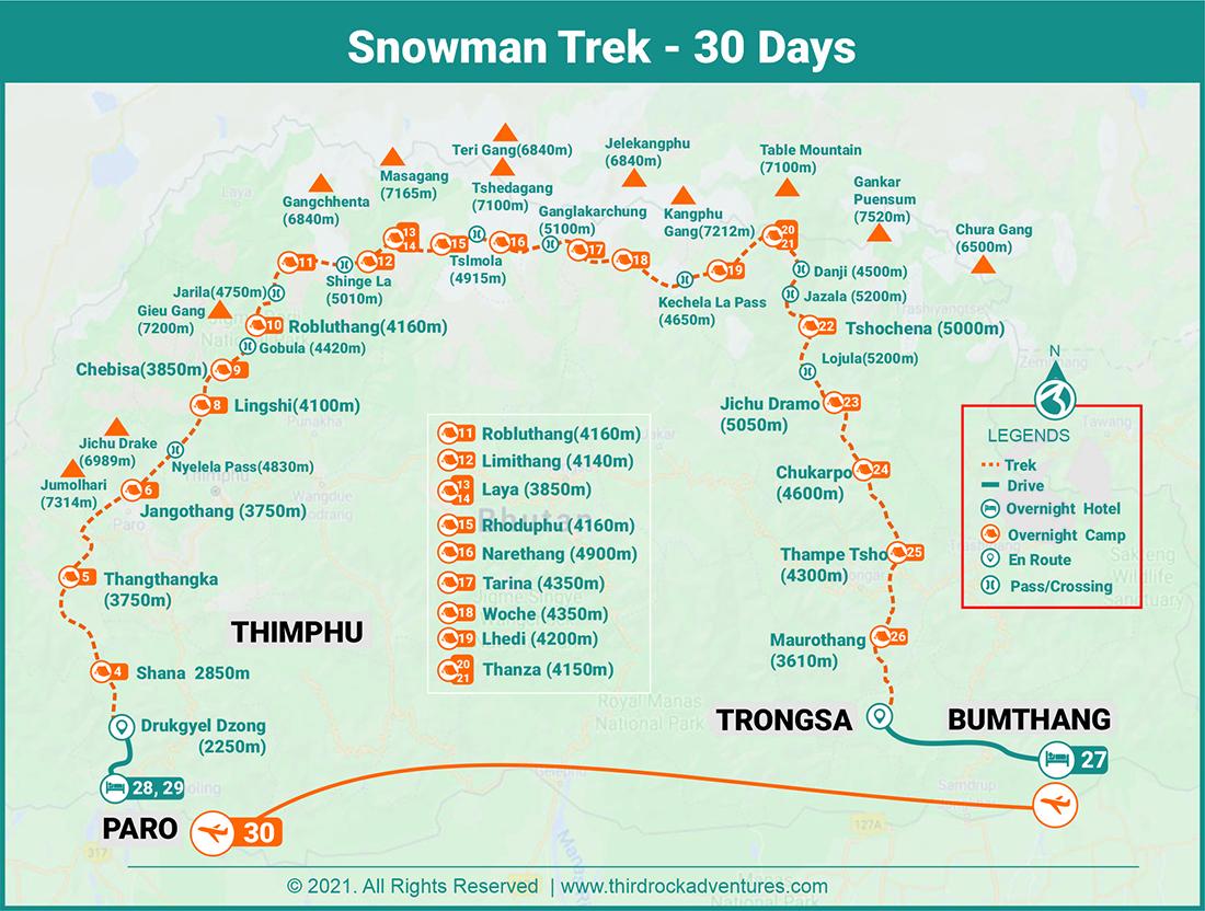 Snowman Trek 30 Days Route Map