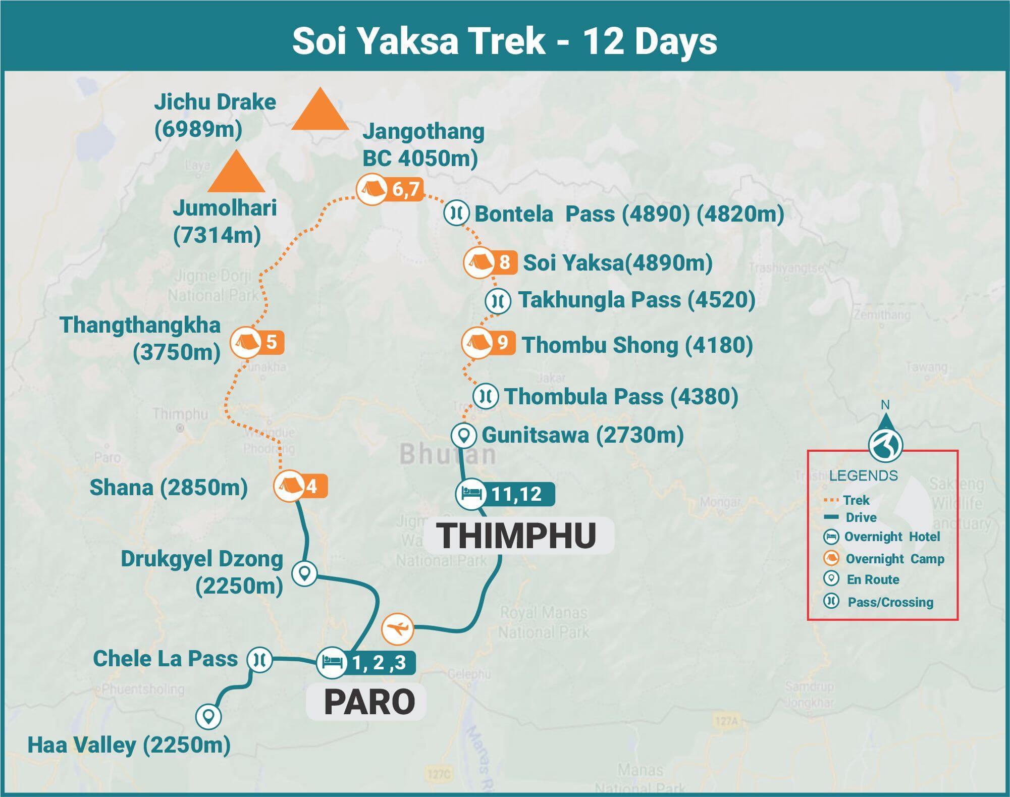 Soi Yaksa Trek 12 days Route Map