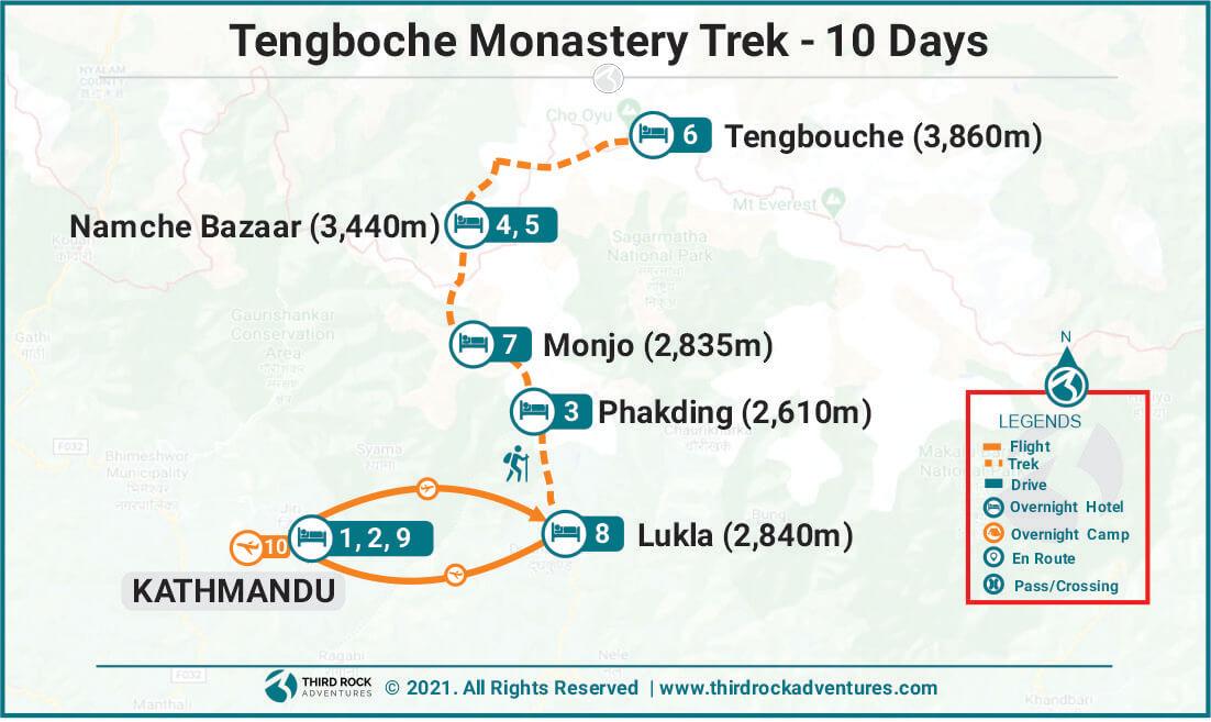 Tengboche Monastery Trek Route Map