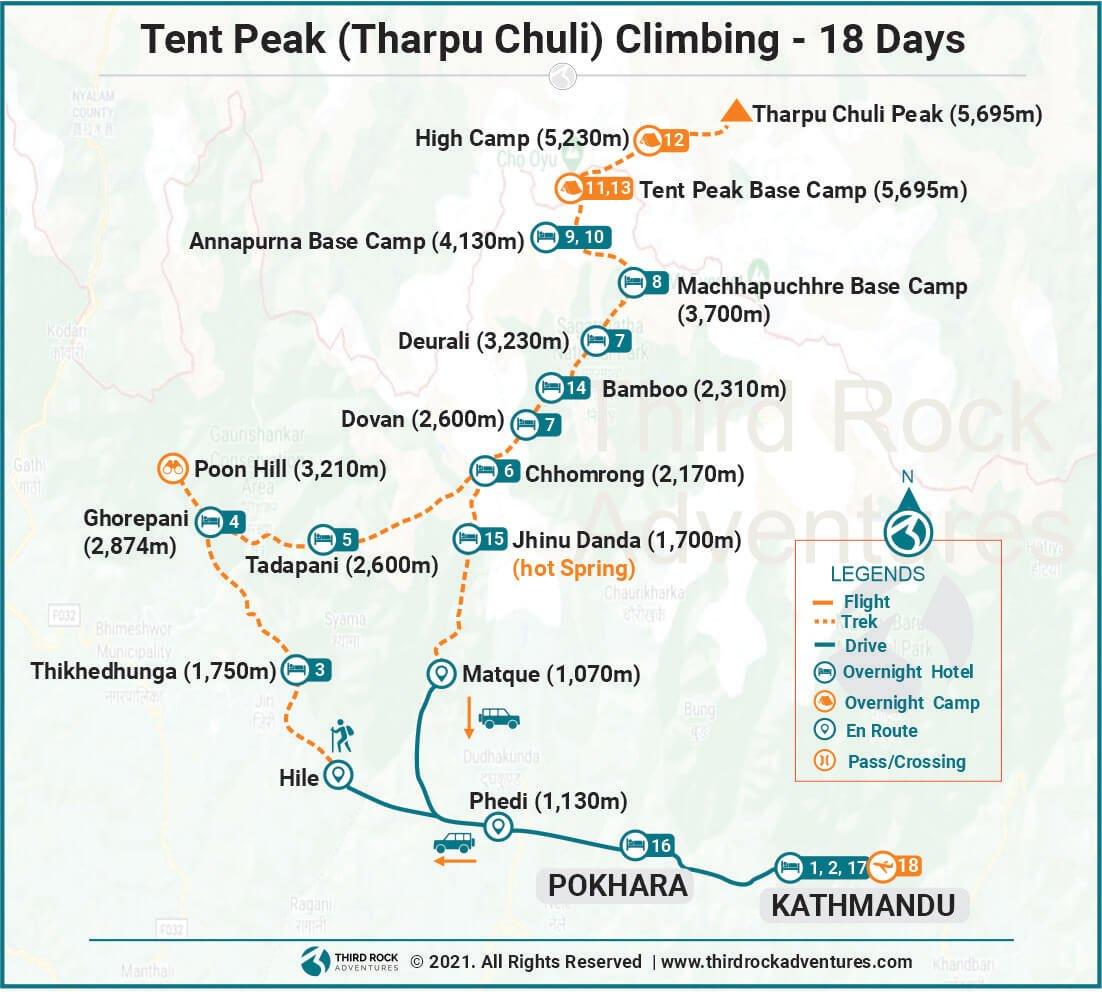 Tent Peak Climbing Route Map